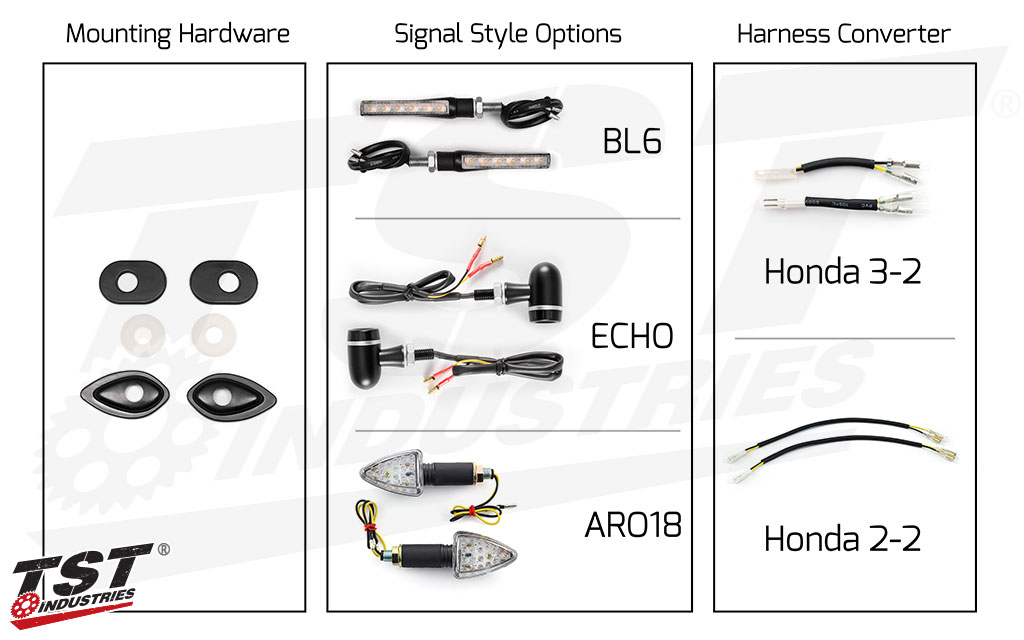 TST LED Front Pod Turn Signal Bundle for Honda Motorcycles.