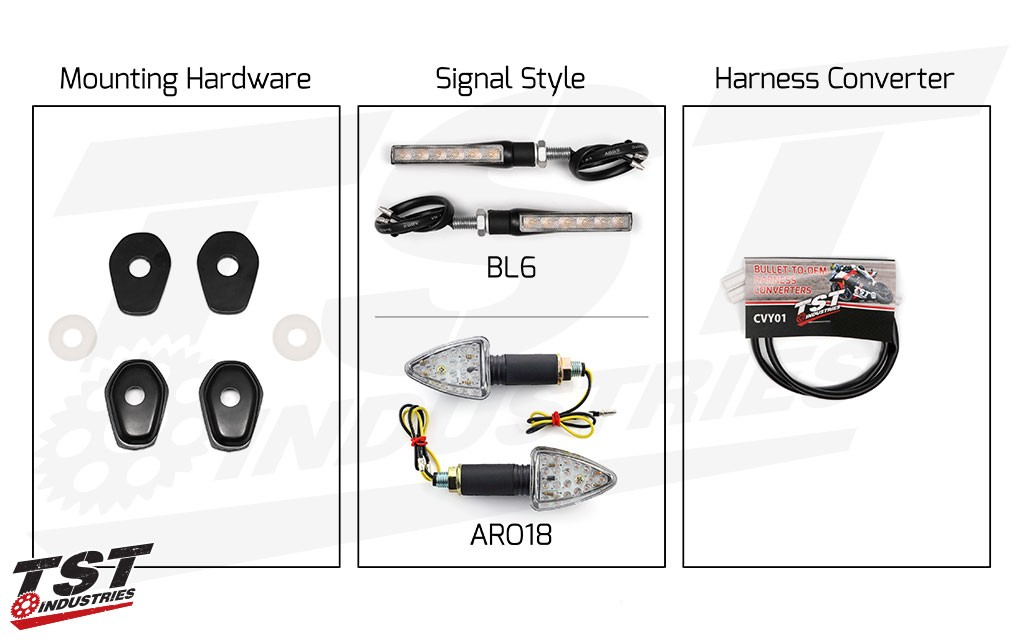 TST LED Front Pod Turn Signal Bundle for Suzuki DR-Z400S / DR-Z400SM.