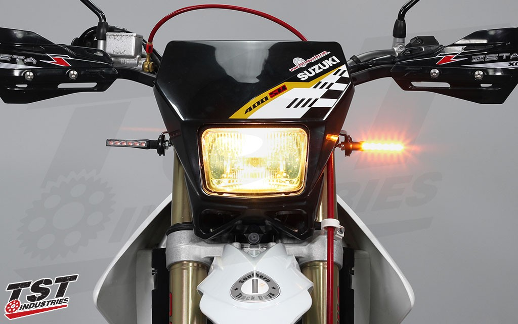 Upgrade your Suzuki DR-Z400S with bright LED pod turn signals from TST Industries.