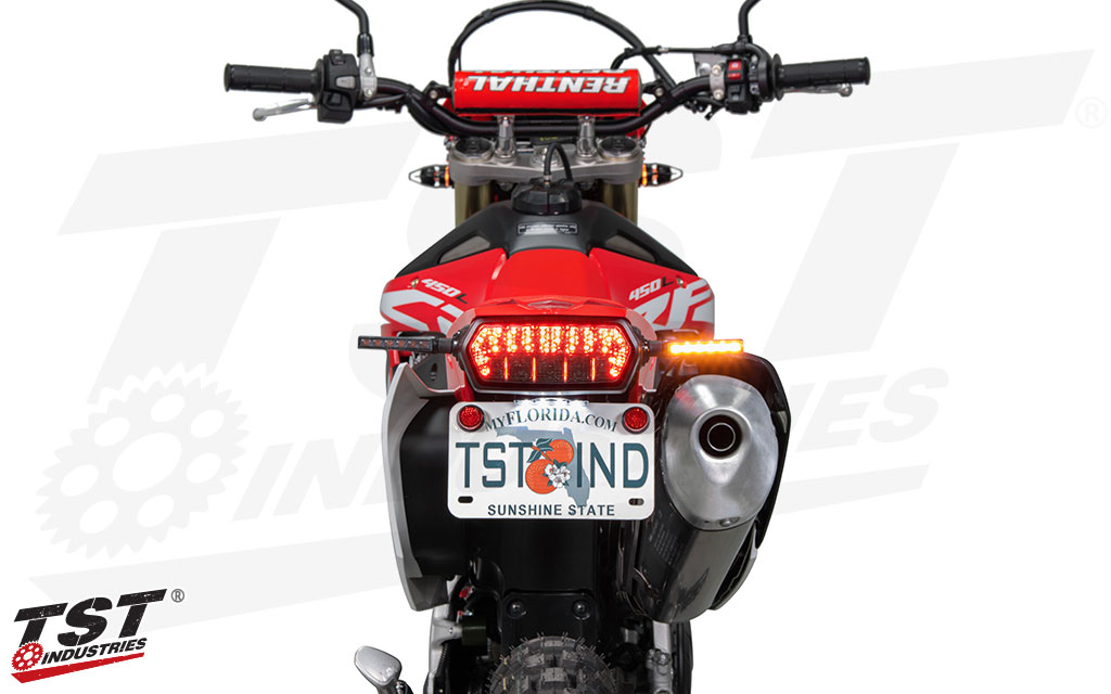 Upgrade your 2019+ Honda CRF450L with bright turn signals from TST Industries.