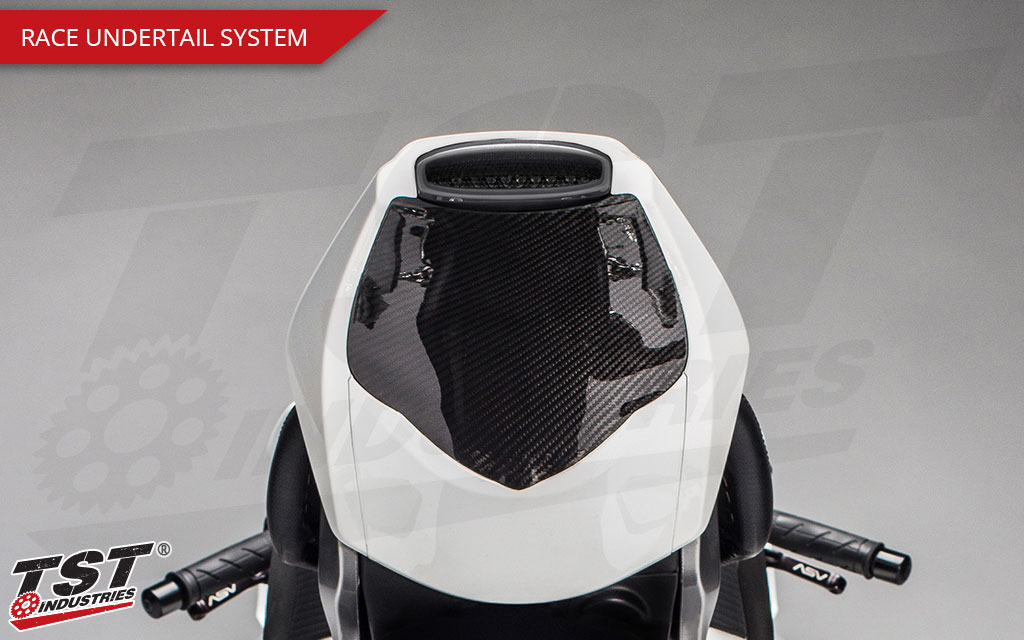 The Race Undertail System provides an incredibly sleek and sexy look to your CBR1000RR undertail.
