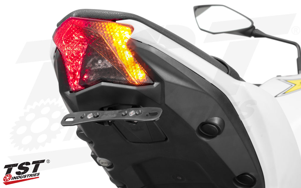 Adjustable Elite-1 Fender Eliminator shown with the TST LED Programmable & Sequential Integrated Tail Light (sold separately).