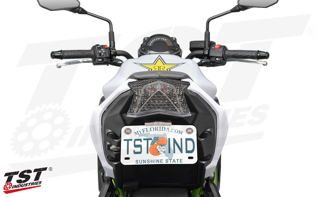 Clear TST Programmable and Sequential LED Integrated Tail Light on the Kawasaki Z650.
