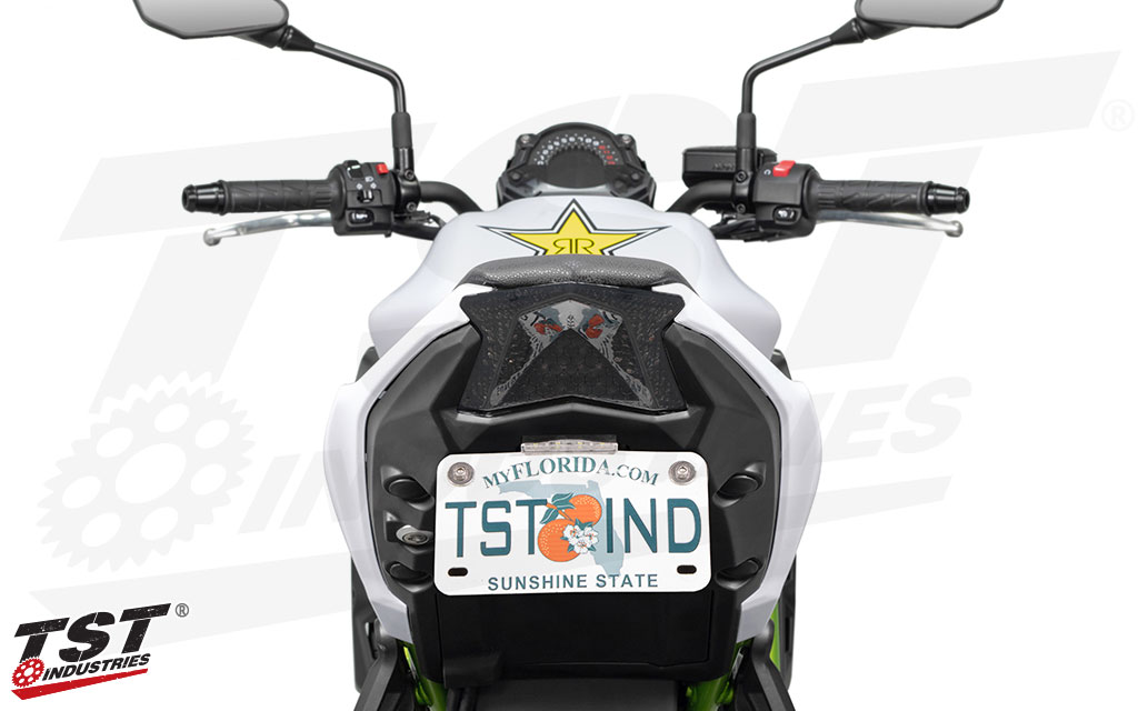 Smoked TST Programmable and Sequential LED Integrated Tail Light on the Kawasaki Z650.
