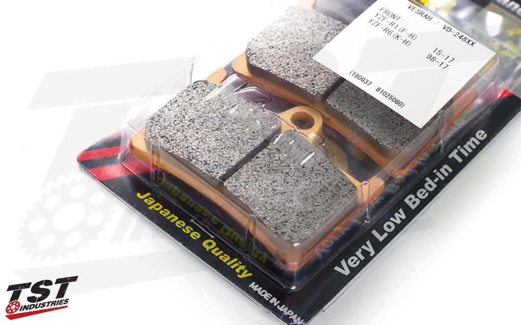 Improve your Yamaha's braking performance with the Vesrah SRJL XX Front Brake Pads.