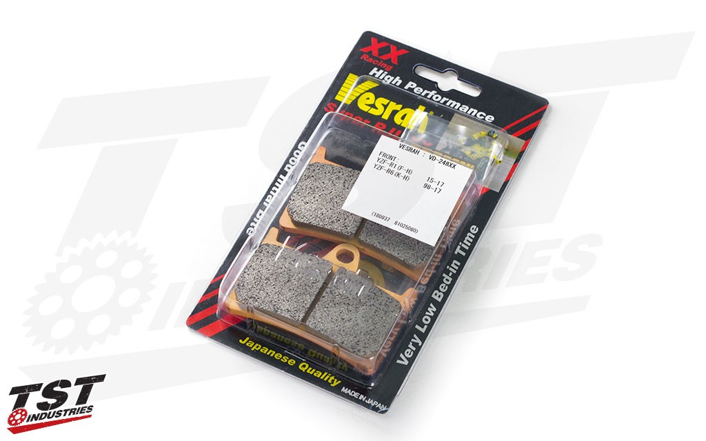Vesrah SRJL XX Front Brake Pads for the Yamaha YZF-R1, YZF-R6, and FZ-10 / MT-10