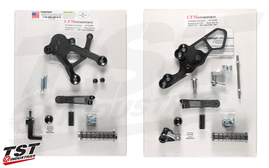 What's included the Woodcraft Rearset kit for the Kawasaki Ninja 400.