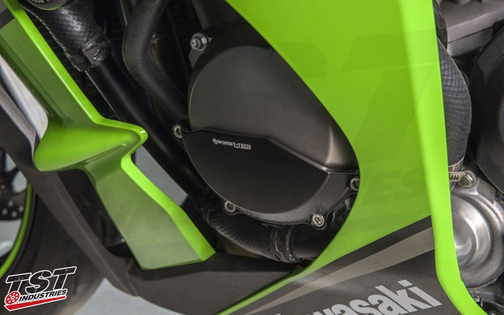 "Womet-Tech Engine Case Savers installed on the 2015 Kawasaki ZX-10R. - ""Black"" Edition shown"