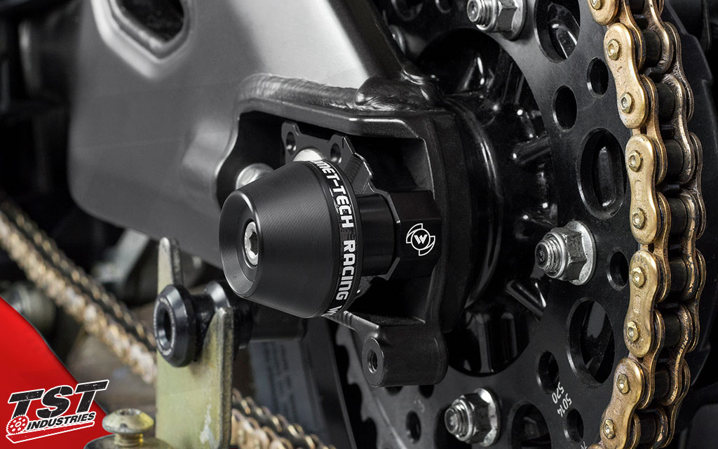 Womet-Tech Axle Block Protectors for the Kawasaki ZX10R. (Shown installed on the R1)