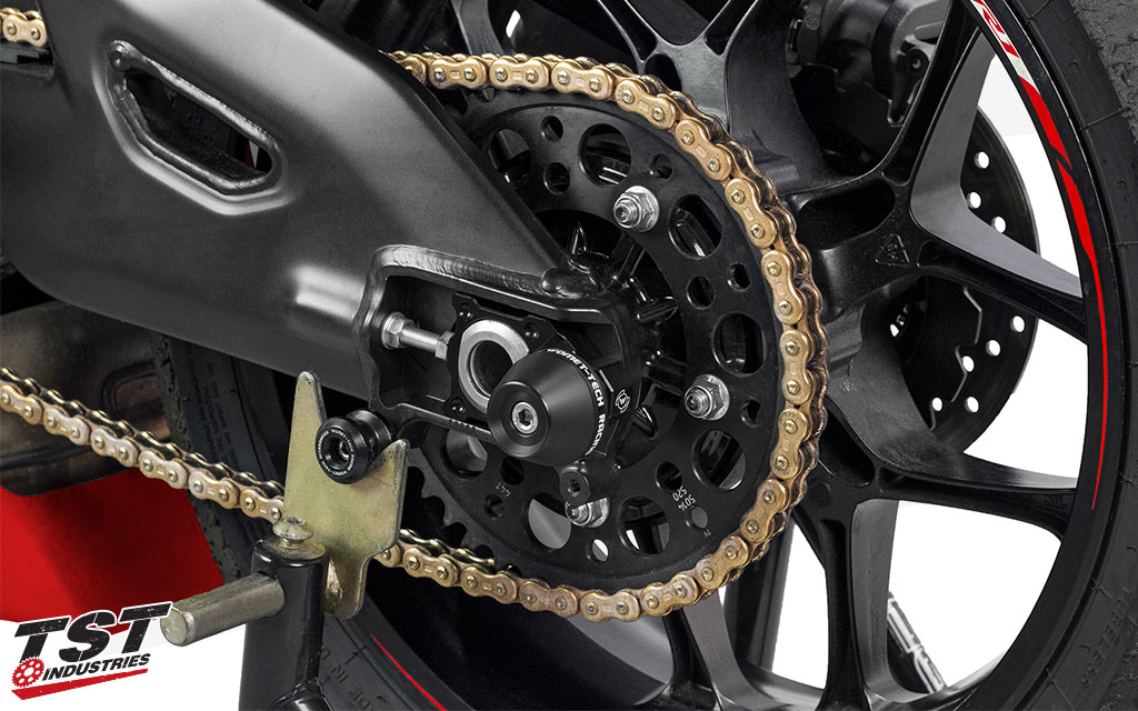 Axle Block Protectors installed on the Yamaha YZF-R1.