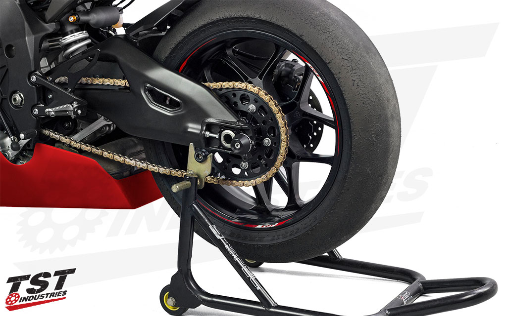 Protect your swingarm with the Womet-Tech Axle Block Protectors. (Shown on the Yamaha R1)