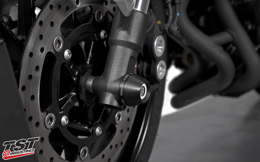 Womet-Tech Frame Sliders Crash Protectors on the Yamaha 2016+ XSR900.