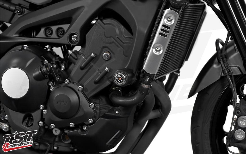 Womet-Tech Frame Sliders installed on teh 2016+ Yamaha XSR900.