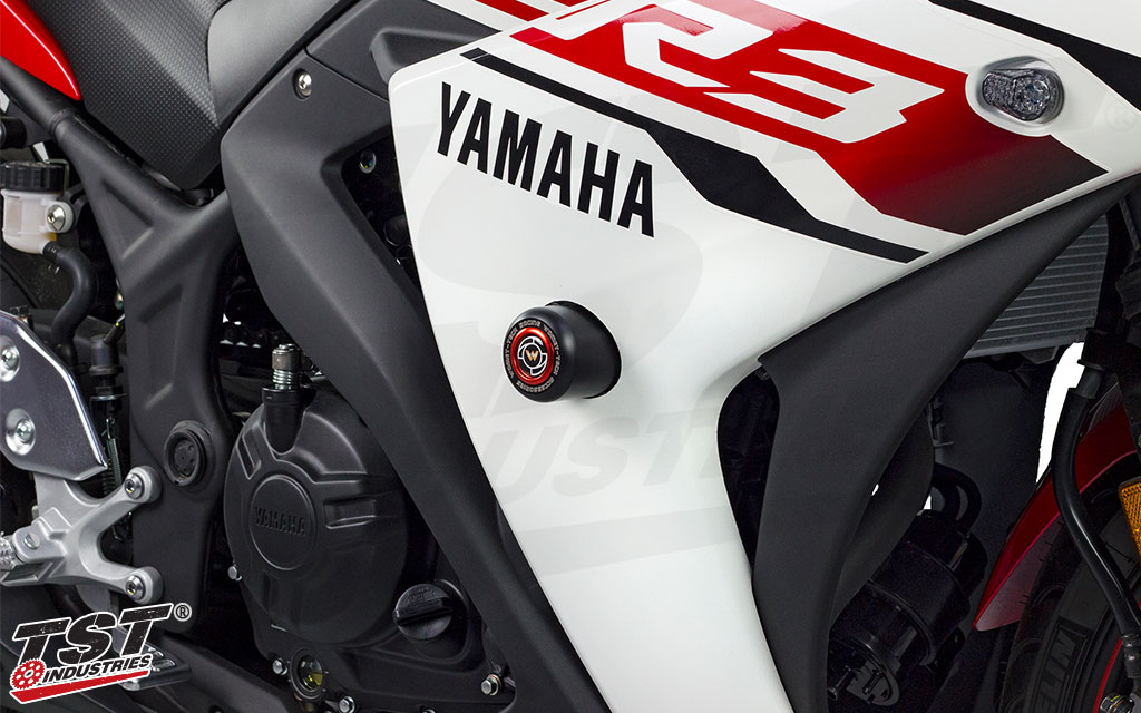 2015-2018 Yamaha YZF-R3 White No Cut Frame Sliders 750-6120 MADE IN THE USA