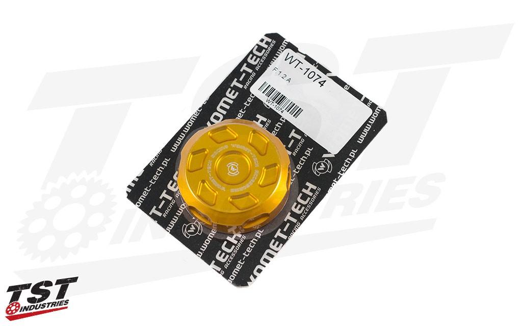 Anodized Gold Womet-Tech Front Brake Reservoir Cap.
