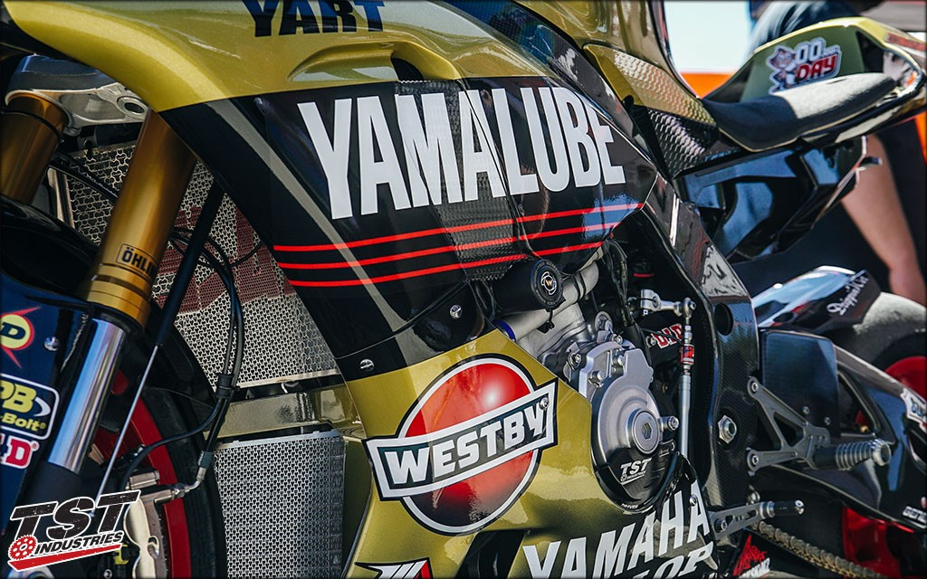 Womet-Tech Frame Sliders on the MotoAmerica Team Westby Yamaha R1.