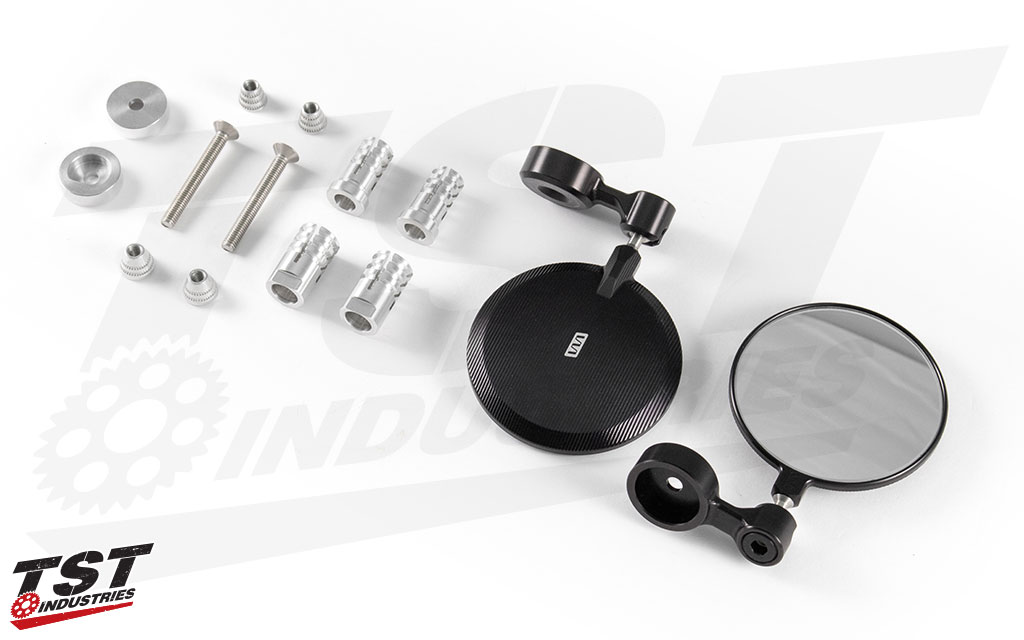 """Creates a low profile and aggressive look compared to """"dumbo ear"""" mirrors."""