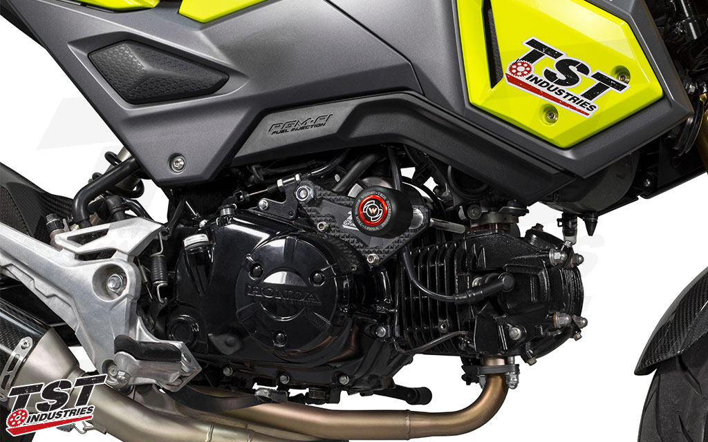 TST Frame Sliders protect the engine and fairings of your Honda Grom.