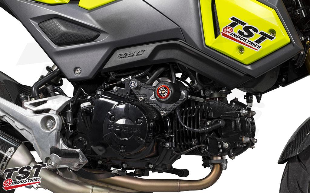 TST Frame Sliders for the 2013+ Honda Grom.