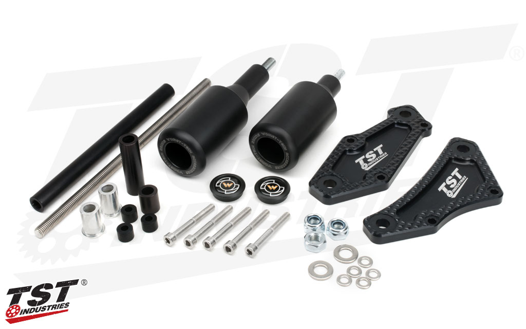 Total Crash Protection Pack for the Honda Grom 2013+ - TST Frame Slider kit shown.