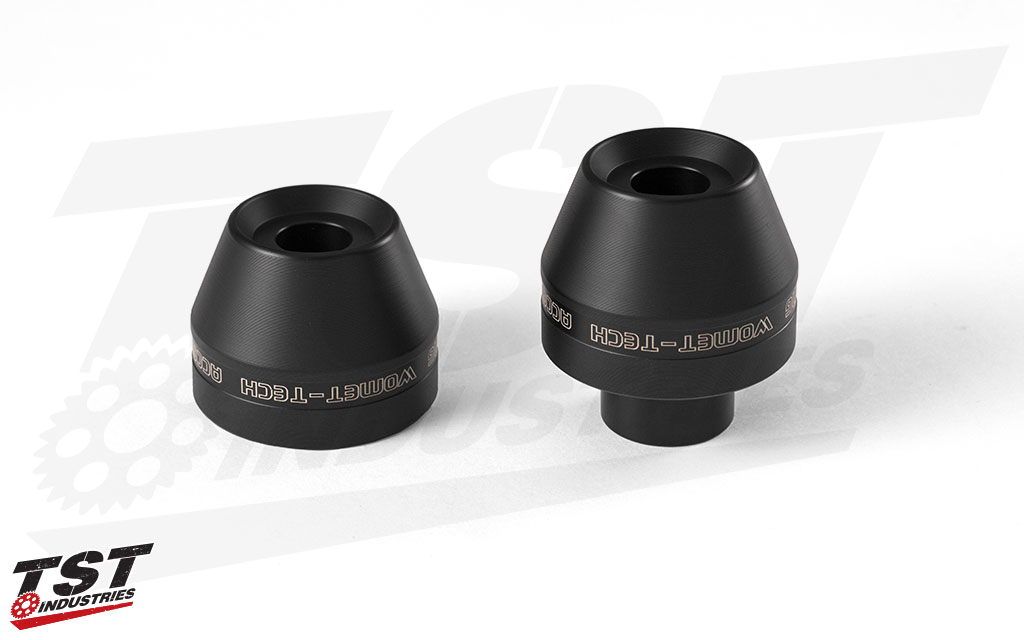 CNC machined delrin sliders help protect your fork, brake, and front wheel assemblies.