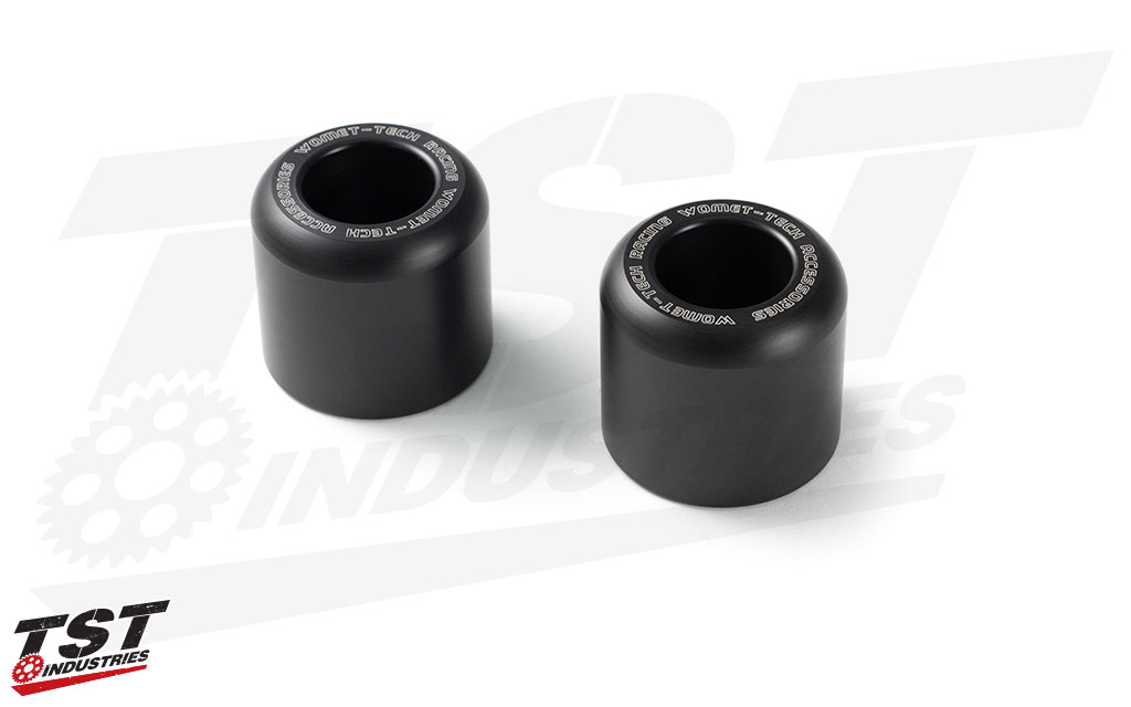 Robust delrin sliders aid in protecting your ZX6R from costly damage and repairs.