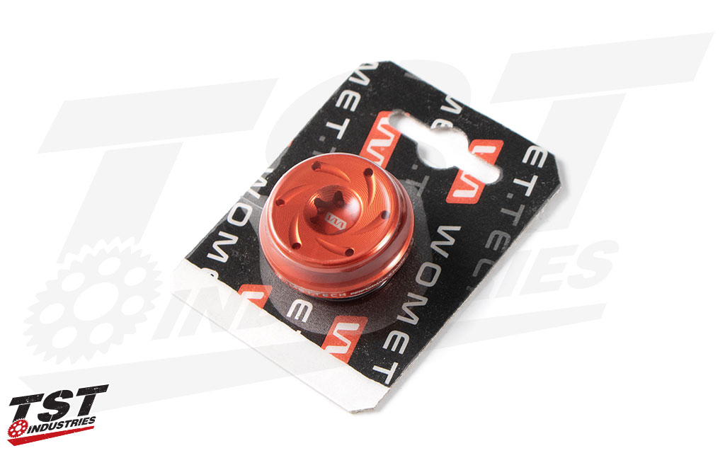 Red anodized Womet-Tech Oil Filler Cap M27x3.