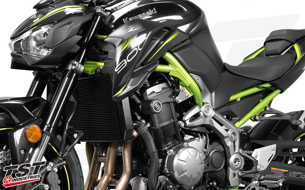 Womet-Tech Endurance Race Frame Sliders aid in protecting your Kawasaki Z900.