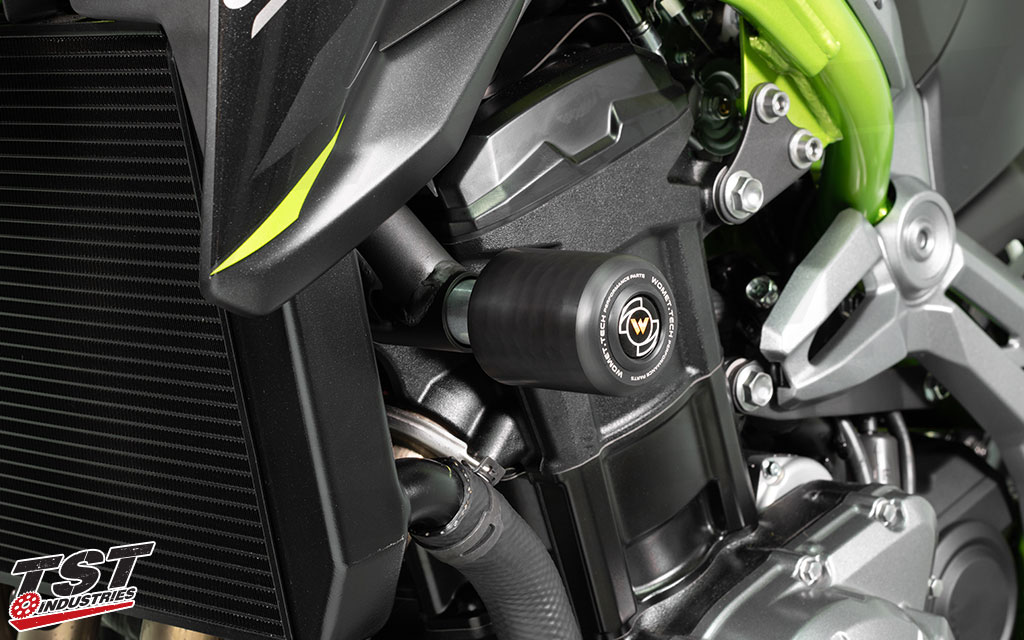Womet-Tech Endurance Race Frame Sliders installed on 2017+ Kawasaki Z900.