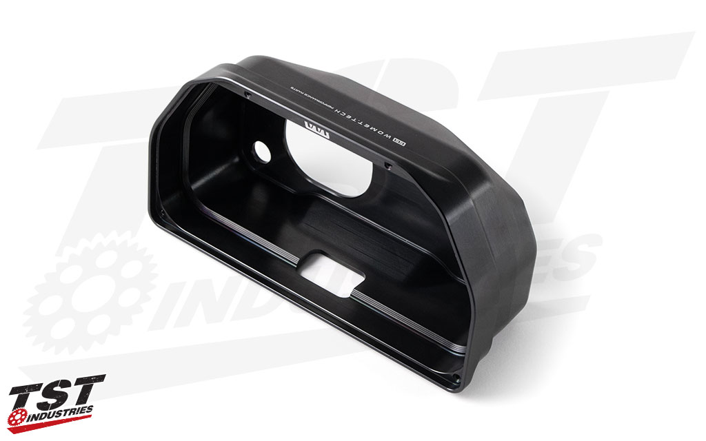 The electronic dash enclosure is manufactured from CNC machined high-grade aluminum.