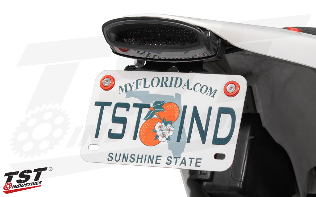 Secure your license plate with anodized hardware from TST Industries.