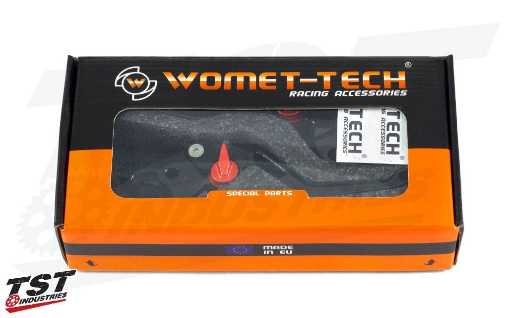 Womet-Tech Evos Shorty Levers for the 2013-2016 Kawasaki Z800 in the packaging.