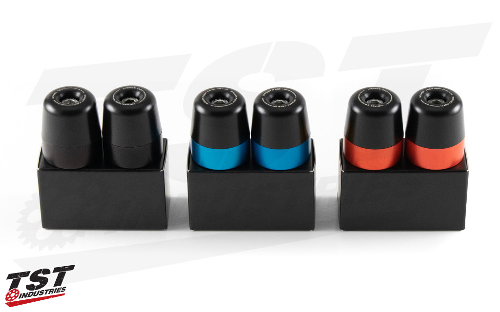 Available in anodized Black, Red, or Blue.