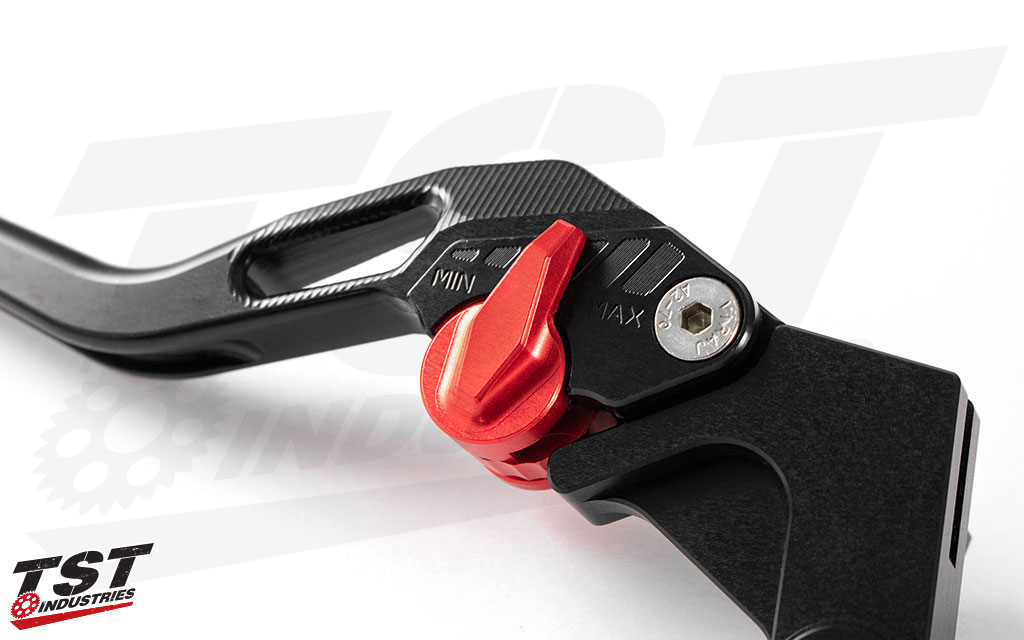 Anodized red adjuster enables you dial in the lever pull distance to suit your hand.