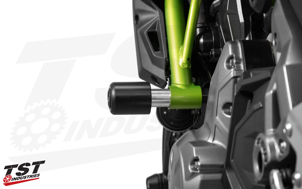 Frame sliders provide a consumable sliding surface that protects your Kawasaki Z650 / Ninja 650.
