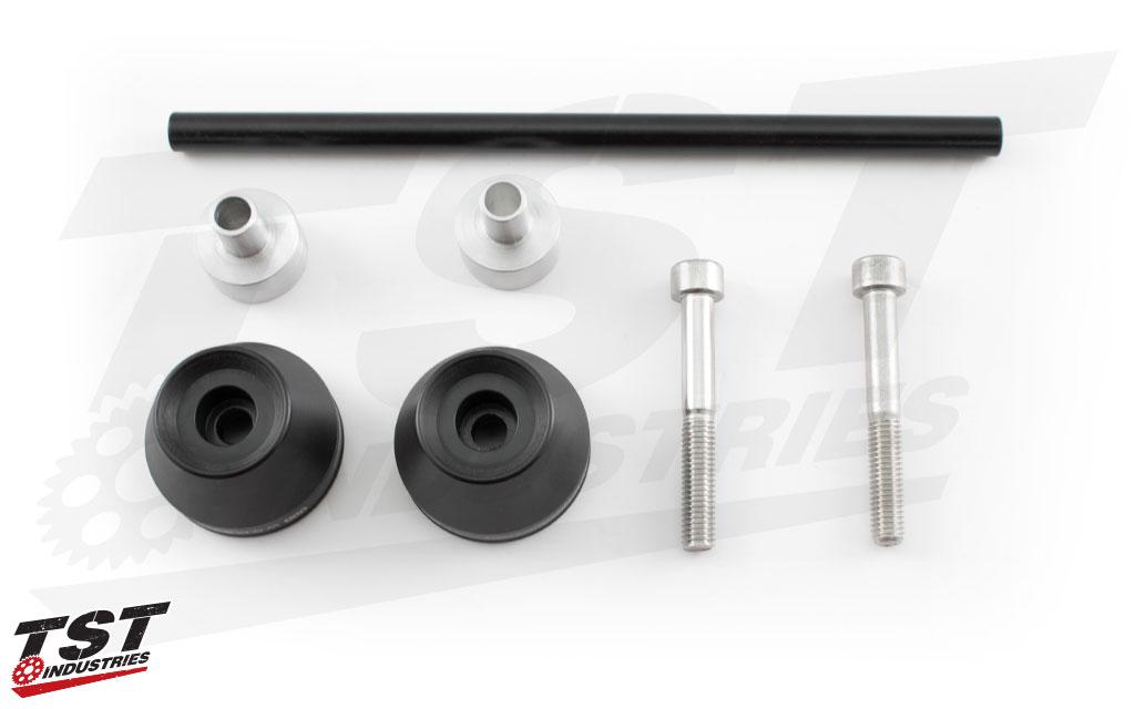 Includes Womet-Tech Fork Slider Crash Protection designed for the Kawasaki Z650 / Ninja 650.