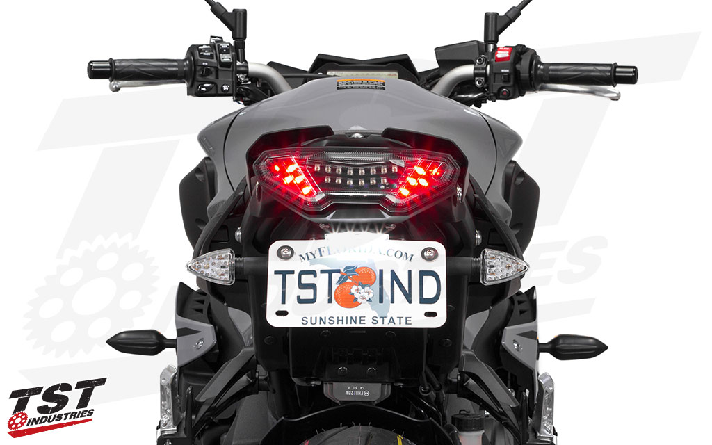 TST Industries LED Rear Pod Turn Signal Kit shown on the 2016 Yamaha FZ-10 / MT-10.