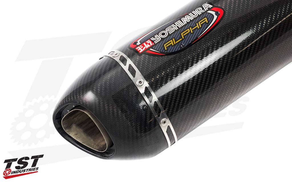 Gorgeous carbon fiber canister with matching carbon fiber exhaust tip.