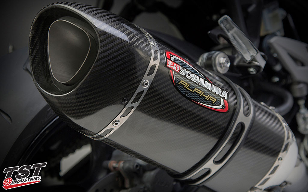 Carbon fiber canister with a carbon fiber exhaust tip.