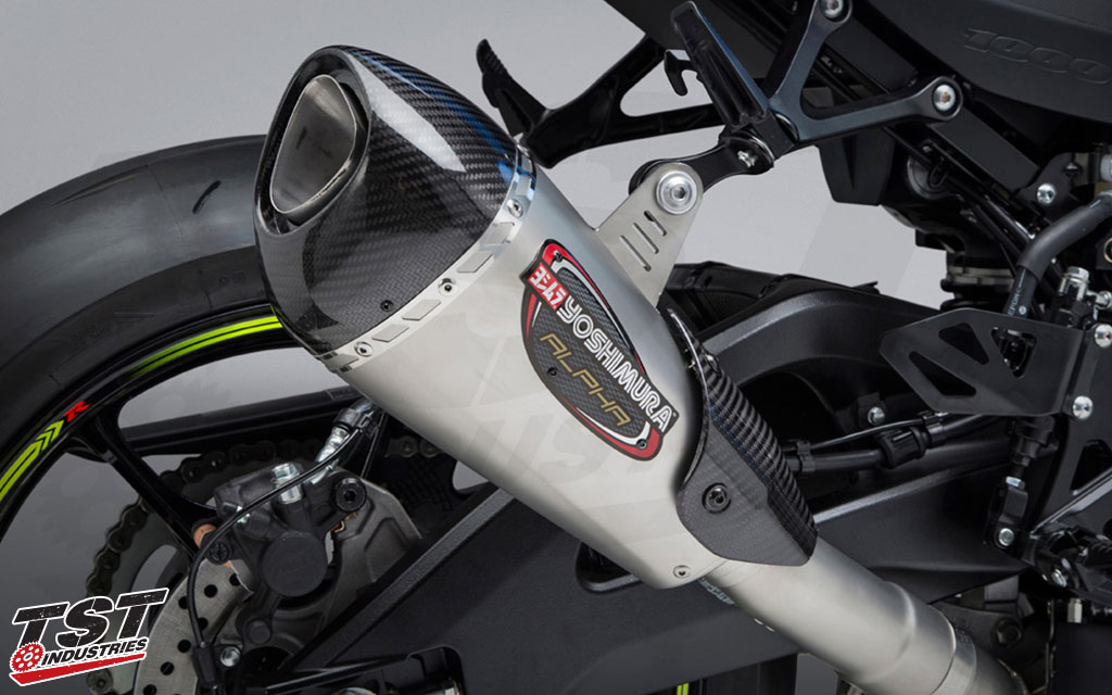 Yoshimura's Street Alpha T features a carbon fiber tip and brushed stainless steel Works finish canister.