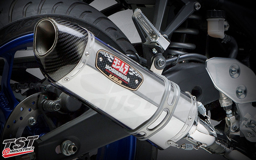 Yoshimura Race R-77 stainless steel canister and stainless mid pipe and headers.