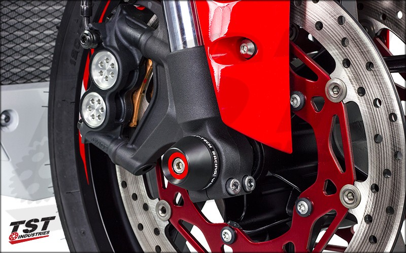 Womet-Tech Yamaha 2015 YZF R1 Fork Slider Crash Protector installed on the Yamaha R1.