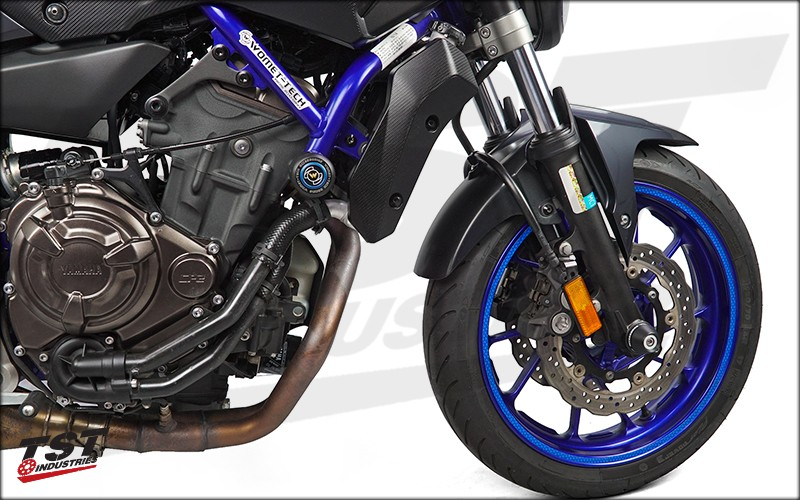 Womet Tech Frame Sliders installed on the 2015+ Yamaha FZ-07 MT-07.