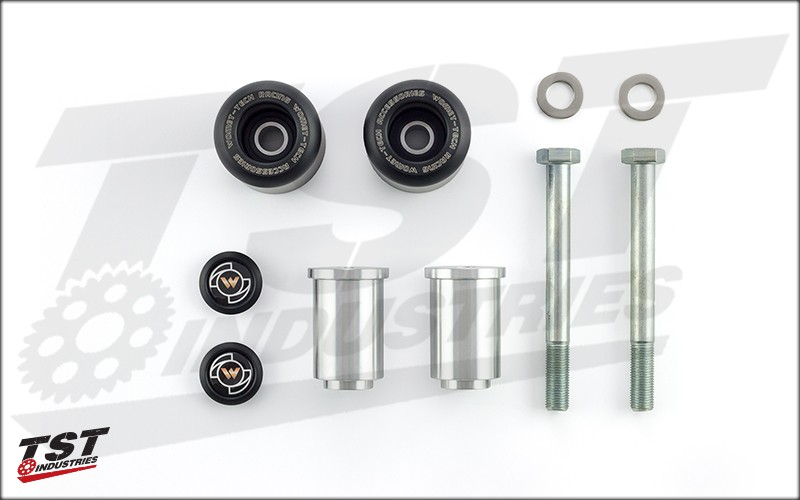 What's Included in the Womet-Tech Frame Sliders for the Yamaha FZ-07 / MT-07 / XSR700.
