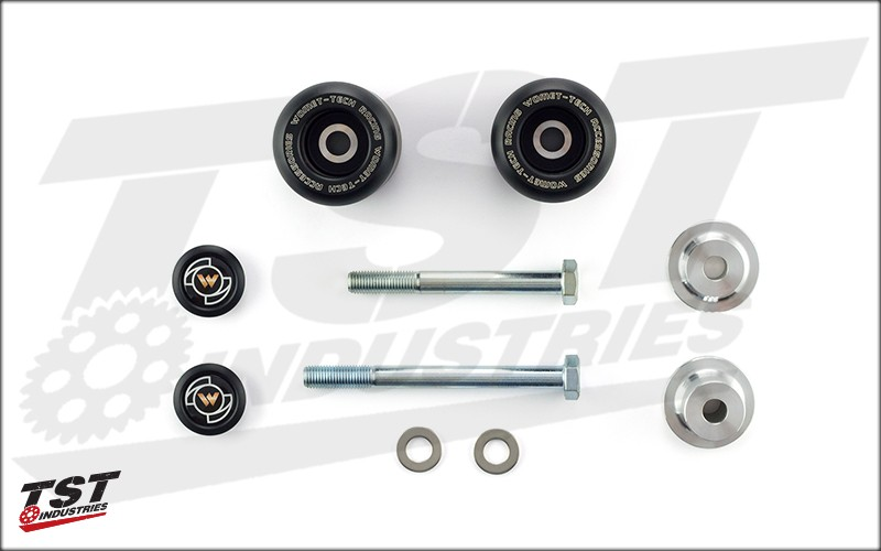 What's Included in the Womet-Tech Frame Slider kit for the 2014+ Yamaha FZ-09 / MT-09 and 2016+ XSR900