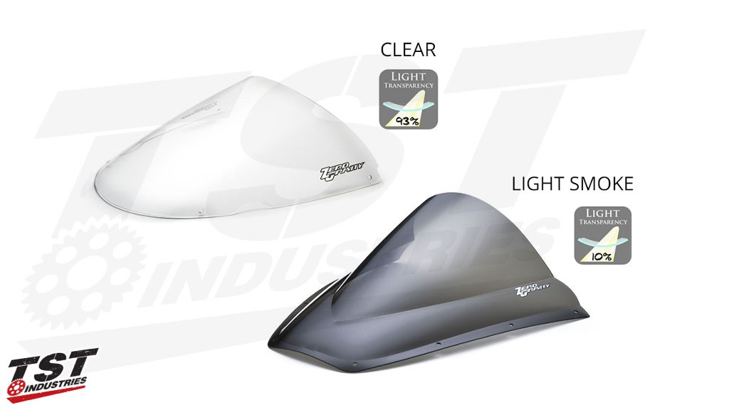 Available in Light Smoke or Clear. Example Comparison of Clear and Light Smoke tint options.