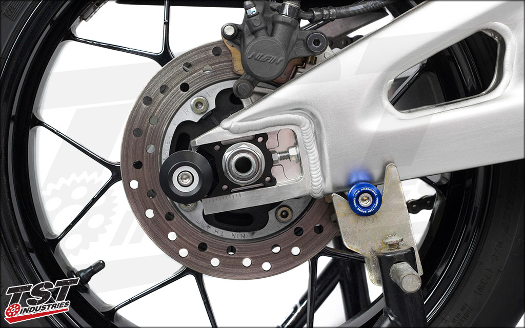 The axle block protector aids in protecting your swingarm, wheel, breaks, and much more.