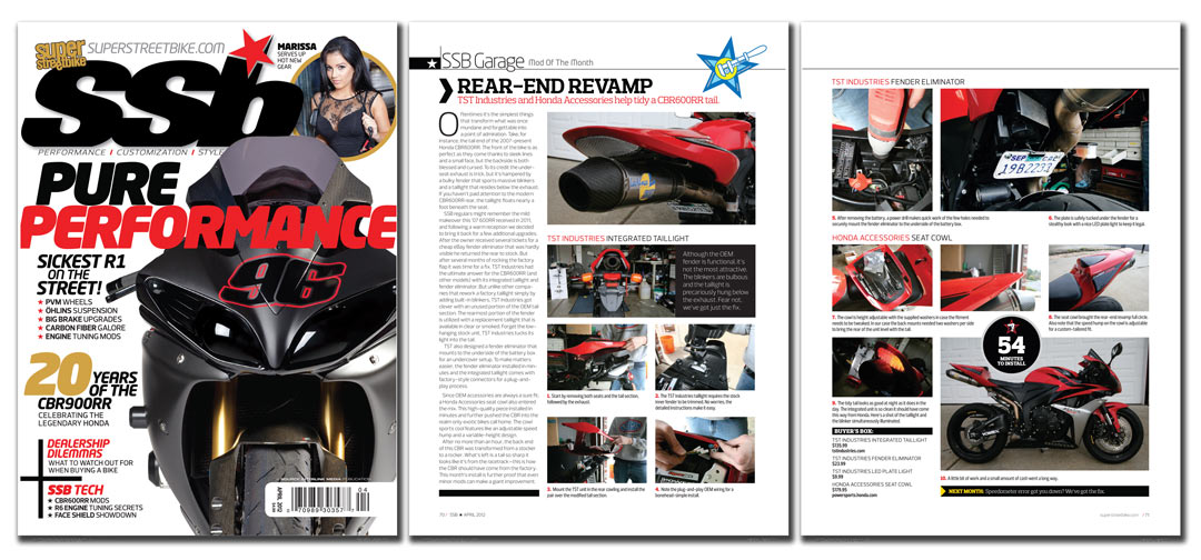 Snapshot of Super Streetbike Magazine article on the TST Industries integrated tail light for the 2007-2012 CBR600RR.