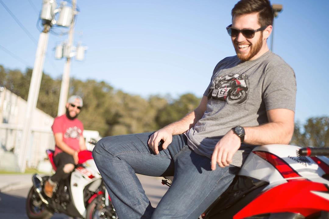 Apparel photoshoot of Bryan and Mark on the CBR600RR and Yamaha YZF-R3.